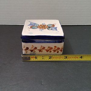 Storage & Organization - Hand Painted Ceramic Trinket Box with Lid Signed